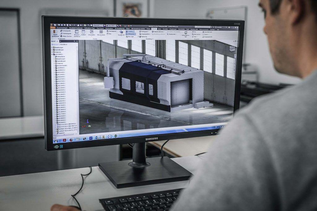 3D-Konstruktion einer Maschinenverkleidung