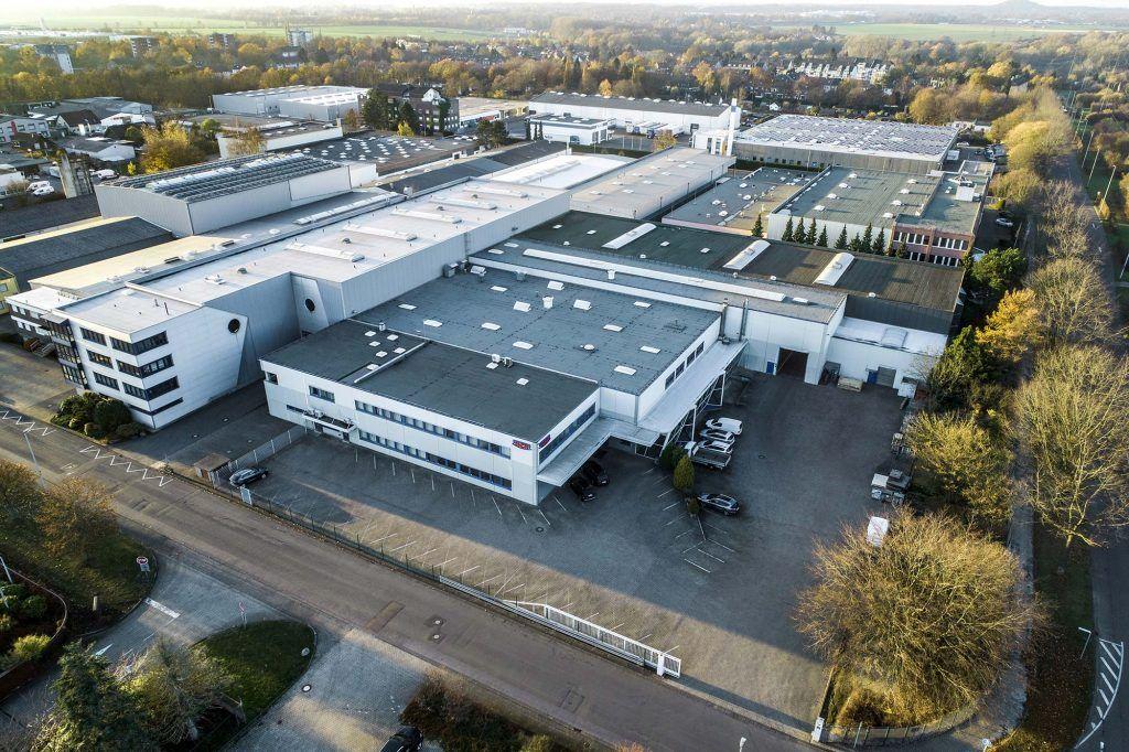 Drohnenaufnahme vom HCR Gebäude in Mönchengladbach