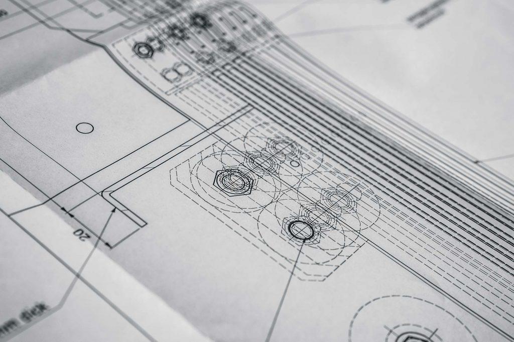 Plan einer Konstruktion von Maschinenschutz